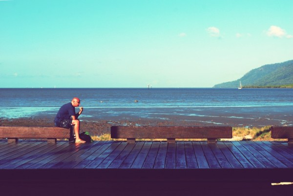 Cairns Esplanade - Man on Boardwalk